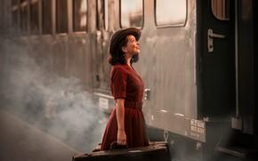 Picture retro, suitcases, girl, train