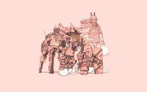 Picture Gun, Art, Machine, Stealth, Tank, Ninja, Weapon, Minimalism, Cyborg, Soldier, Characters, Armor, Camouflage, Bunny, Rabbits, …