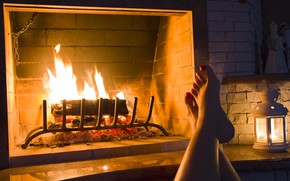 Picture girl, heat, lamp, candle, fireplace, legs, cozy