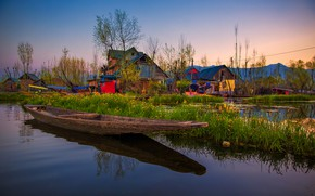 Picture boat, India, channel, Pakistan, Dal lake, Srinagar, The Kashmir valley