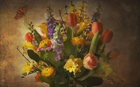 Picture flowers, bouquet, texture
