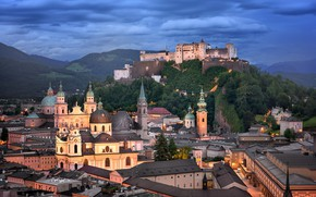 Picture clouds, the city, hills, building, home, the evening, Austria, Cathedral, tower, fortress, forest, dome, Salzburg