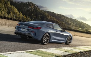 Picture asphalt, coupe, track, BMW, Coupe, 2018, gray-blue, 8-Series, pale blue, M850i xDrive, Eight, G15