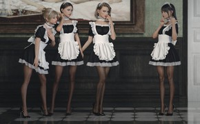 Picture picture, the door, corridor, mansion, uniform, apron, bezel, maids, four girls, chalker, a finger to …