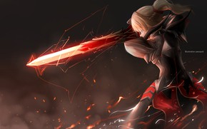 Picture girl, sword, armor, Fate - Apocrypha, Fate Apocrypha