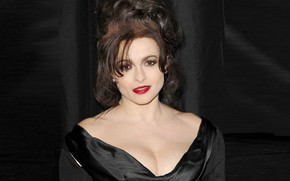Picture smile, actress, hairstyle, red lipstick, Helena Bonham Carter