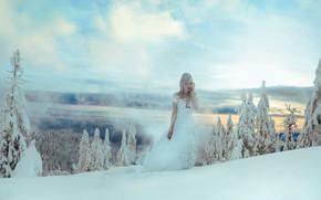 Picture winter, forest, girl, snow, style, dress, fantasy, image, Princess, photoart, Kindra Nikole