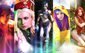 Picture wallpaper, red, girl, fantasy, sexy, god of war, yellow, model, 1920x1080, cosplay, street fighter, purple, …
