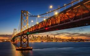Picture the sky, sunset, bridge, lights, coast, home, the evening, lights, Bay, San Francisco