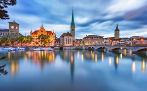 Picture lights, lake, the evening, Switzerland, Zurich