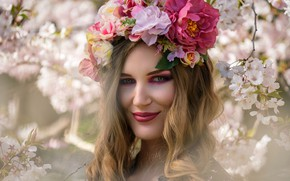 Picture girl, flowers, smile, spring, flowering, bokeh