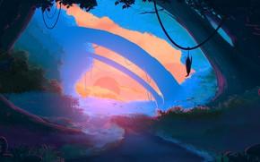 Picture Sunset, The sun, Nature, Trees, Jungle, Jungle, Fantasy, Landscape, Nature, Art, Art, Landscape, Sun, Sunset, …