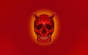 Picture Minimalism, Skull, Style, Background, Horns, Art, Art, Devil, Style, Sake, Red Skull, Background, Minimalism, The …