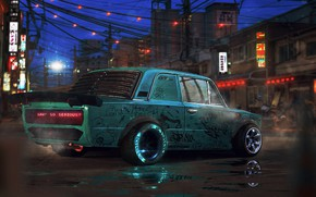 Picture Auto, Night, The city, Machine, Tuning, City, Car, VAZ, Lada, Sci-Fi, VAZ-2101, Why so serious?, …