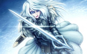 Picture winter, look, girl, sword