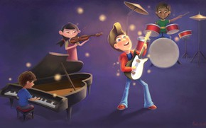 Picture children, music, figure, group, art, concert, Art, Children illustration/concept, Marcos Ebrahim