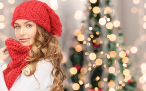 Picture look, girl, hat, hair, tree, scarf, New year, bokeh