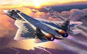 Picture Dawn, Pair, flight, Russia, Videoconferencing Russia, the fifth generation fighter, Su-57
