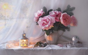 Picture flowers, branches, ball, roses, lantern, pitcher, still life, needles, sled, bumps, napkin, Christmas toy, Valentina …