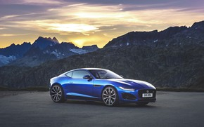 Picture sunset, mountains, Jaguar, F-Type, F-Type R, 2021