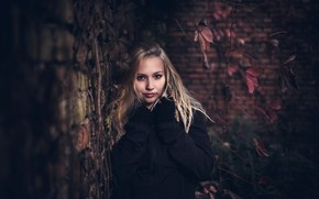 Picture leaves, branches, pose, wall, model, portrait, brick, makeup, jacket, hairstyle, blonde, gloves, is, beautiful, in …