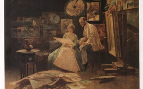 Picture The Studio Oil Painting, Hungarian painting, Bertalan Karlovszky