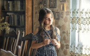 Picture look, reverie, room, chairs, dress, girl, wardrobe, child, curtain, Rus