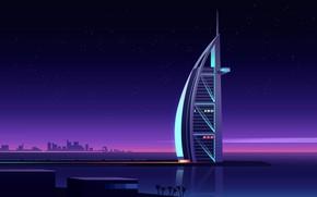 Picture sea, the sky, trees, night, bridge, the city, coast, the building, island, home, vector, stars, …