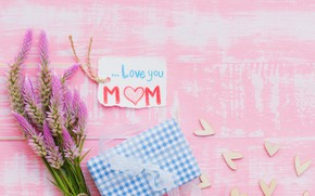 Picture love, flowers, gift, heart, love, wood, pink, flowers, hearts, gift, mother's Day
