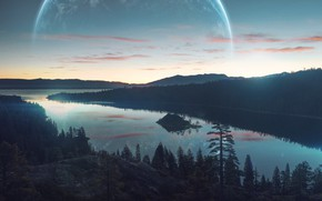 Picture The sky, Nature, Lake, Forest, Planet, Landscape, Nature, Sky, Art, Art, Landscape, Planet, Fiction, Fiction, ...