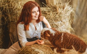 Picture girl, smile, hay, red, lamb, redhead, sheep, lamb, Диана Липкина