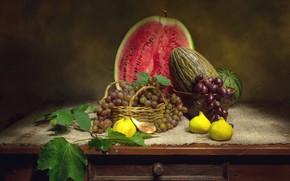 Picture watermelon, grapes, melon, figs