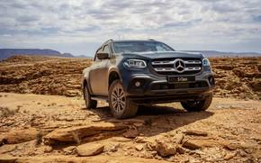 Picture sand, stones, rocks, Mercedes-Benz, pickup, 2018, dark blue, X-Class