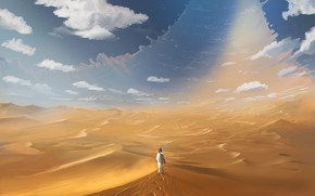 Picture The sky, Road, People, Desert, The way, Day, Heat, Art, The wanderer, Illustration, Denis Loebner, …