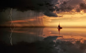 Picture sea, clouds, lightning, boat, sailboat