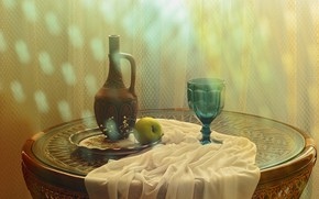 Picture light, table, glass, bottle, Apple, pitcher, still life, items, glass, tray, composition, decanter