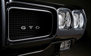 Picture lights, muscle car, black, chrome, bumper, muscle car, Pontiac, pontiac gto, headlights
