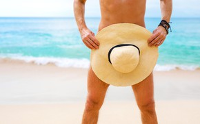 Picture beach, the ocean, stay, tan, hat, naked, sexy, optimally, naturist, naturism