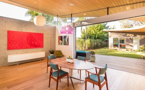 Picture retro, Villa, interior, California, terrace, dining room, mid-century modern, NONAGON style