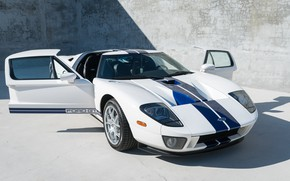 Picture White, Door, The front, Blue stripes, 2005 Ford GT
