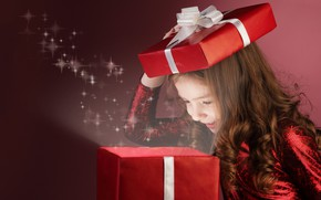Picture look, box, gift, magic, child, girl, New year, Christmas, New Year