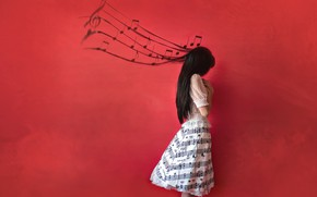 Picture girl, notes, music