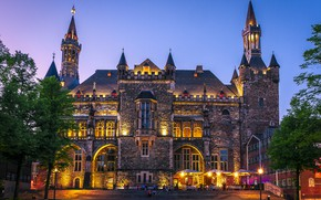 Picture the sky, trees, lights, people, the evening, Germany, area, lights, Cathedral, Palace, town hall, Aachen …