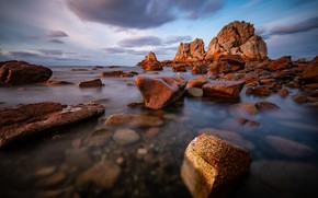 Picture stones, rocks, coast, France, Brittany