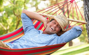 Picture look, trees, joy, smile, mood, hat, hammock, lies, male, shirt, resting, bokeh