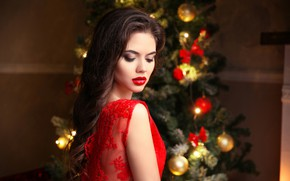 Picture model, pretty, lips, pose, red dress, make up