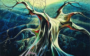 Picture autumn, abstraction, rendering, tree, hills, canvas, acrylic, a reproduction of the work of Eivind Earle …