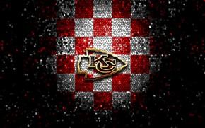 Picture wallpaper, sport, logo, NFL, Kansas City, glitter, checkered