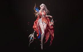 Picture Girl, Fantasy, Art, Style, Background, Illustration, Minimalism, Dress, Character, Staff, SOO JOOP
