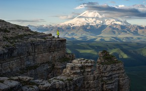 Picture clouds, stones, open, people, view, height, mountain, Russia, Elbrus